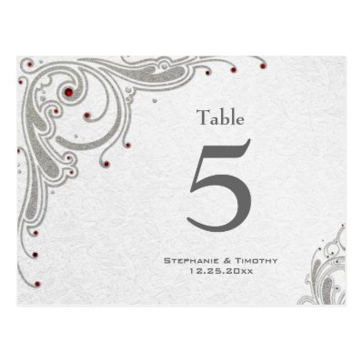 Silver swirls + red jewels wedding table number post cards