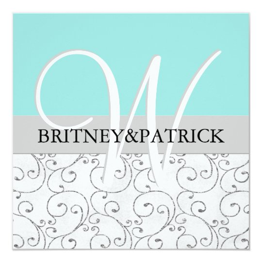 Tiffany Wedding Invitations: Silver Swirls Tiffany Blue Wedding Invitations