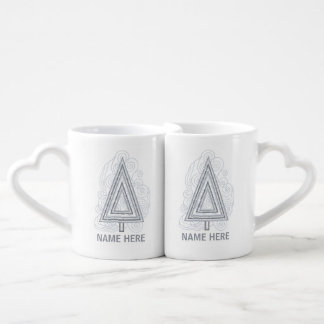 Silver Swirly Christmas Tree Modern Abstract Couples' Coffee Mug Set