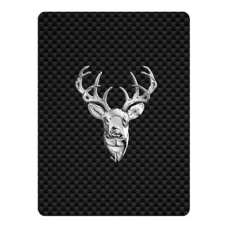Silver Symbolic Deer on Carbon Fiber Style Print 6.5x8.75 Paper Invitation Card