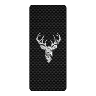 Silver Symbolic Deer on Carbon Fiber Style Print Card