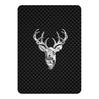 Silver Symbolic Deer on Carbon Fiber Style Print Card