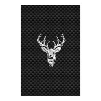 Silver Symbolic Deer on Carbon Fiber Style Print Flyer