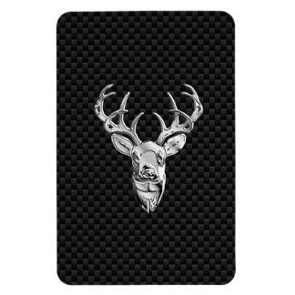 Silver Symbolic Deer on Carbon Fiber Style Print Magnet