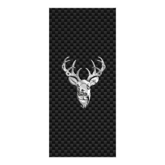 Silver Symbolic Deer on Carbon Fiber Style Print Rack Card