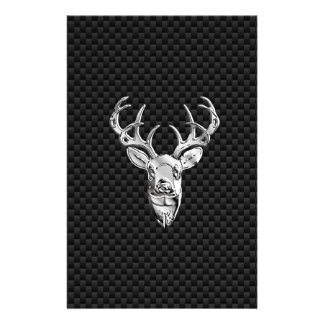 Silver Symbolic Deer on Carbon Fiber Style Print Stationery