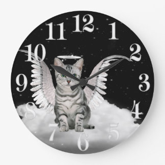 Silver Tabby Angel Cat on a Cloud Large Clock