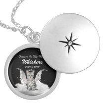 Silver Tabby Angel Cat Pet Memorial Locket Necklace