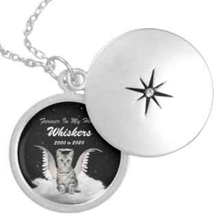 Silver Tabby Angel Cat Pet Memorial Locket Necklace