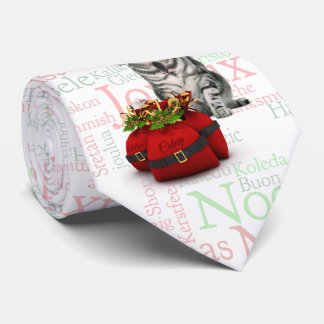 Silver Tabby Cat Christmas Word Art Neck Tie