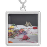 Silver tabby cat climbing over edge of table square pendant necklace