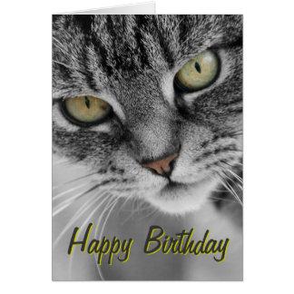 Silver Tabby Cat Face Birthday Card