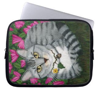 Silver Tabby Cat Garden Cat Art Laptop Sleeve