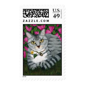 Silver Tabby Cat Garden Cat Art Postage
