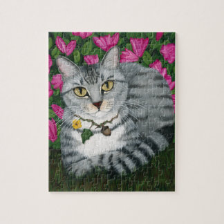 Silver Tabby Cat Garden Cat Art Puzzle