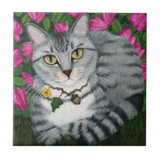 Silver Tabby Cat Garden Cat Art Tile