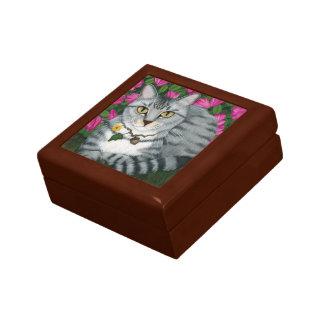 Silver Tabby Cat Garden Cat Fantasy Art Gift Box