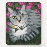 Silver Tabby Cat Garden Cat Mousepad