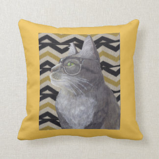 Silver Tabby in Vintage Glasses Cat Throw Pillow