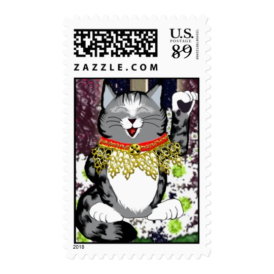 silver tabby maneki neko postage stamp