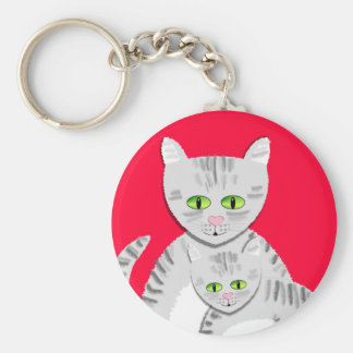 Silver Tabby Mother Cat and Kitten Basic Round Button Keychain