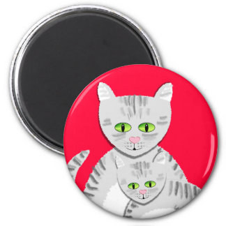 Silver Tabby Mother Cat and Kitten Magnet