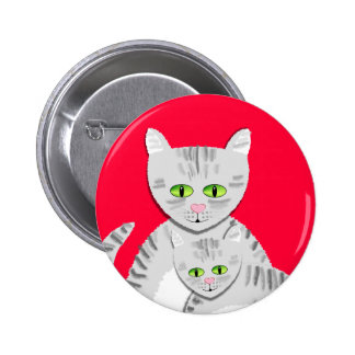 Silver Tabby Mother Cat and Kitten Pins