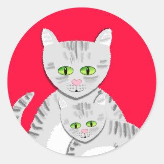Silver Tabby Mother Cat & Kitten Sticker