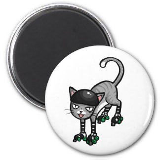 Silver Tabby on RollerSkates 2 Inch Round Magnet