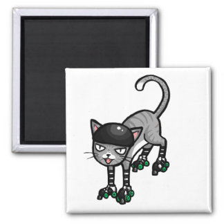 Silver Tabby on RollerSkates 2 Inch Square Magnet
