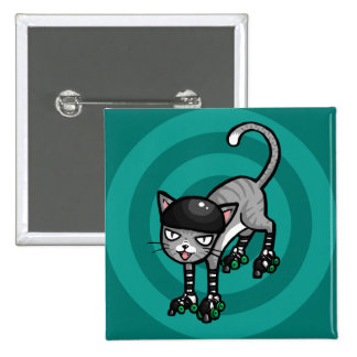 Silver Tabby on RollerSkates Button