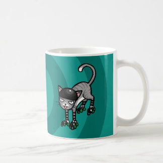 Silver Tabby on RollerSkates Classic White Coffee Mug