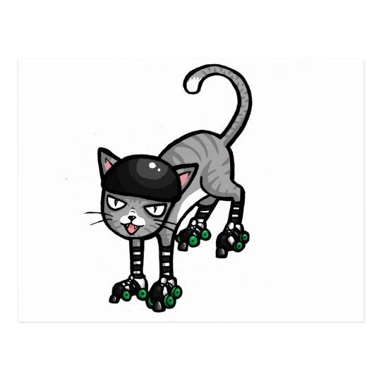 Silver Tabby on RollerSkates Postcard