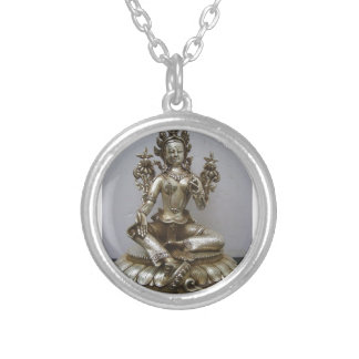 SILVER TARA BUDDHIST GODDESS SILVER PLATED NECKLACE