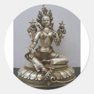 SILVER TARA BUDDHIST GODDESS CLASSIC ROUND STICKER
