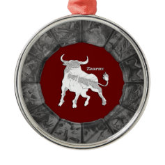 Silver Taurus Bull Zodiac Ornament