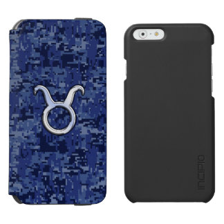Silver Taurus Zodiac Sign Navy Blue Digital Camo iPhone 6/6s Wallet Case