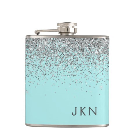 Silver Teal Aqua Blue Girly Glitter Monogram Flask