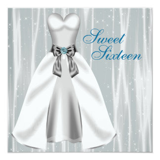 Silver Teal Blue Dress Teal Sweet 16 Birthday Part Card