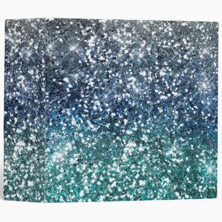 Silver Teal Blue Glitter Look Binder