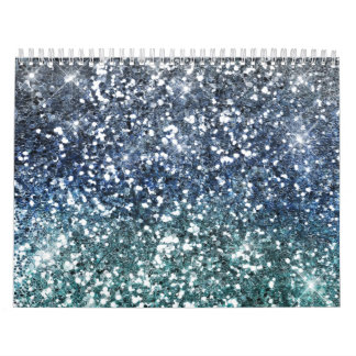 Silver Teal Blue Glitter Look Calendar