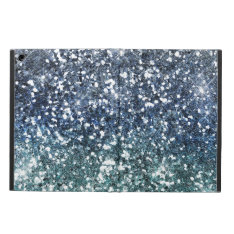 Silver Teal Blue Glitter Look Cover For iPad Air at Zazzle