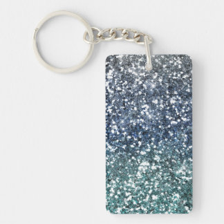 Silver Teal Blue Glitter Look Keychain
