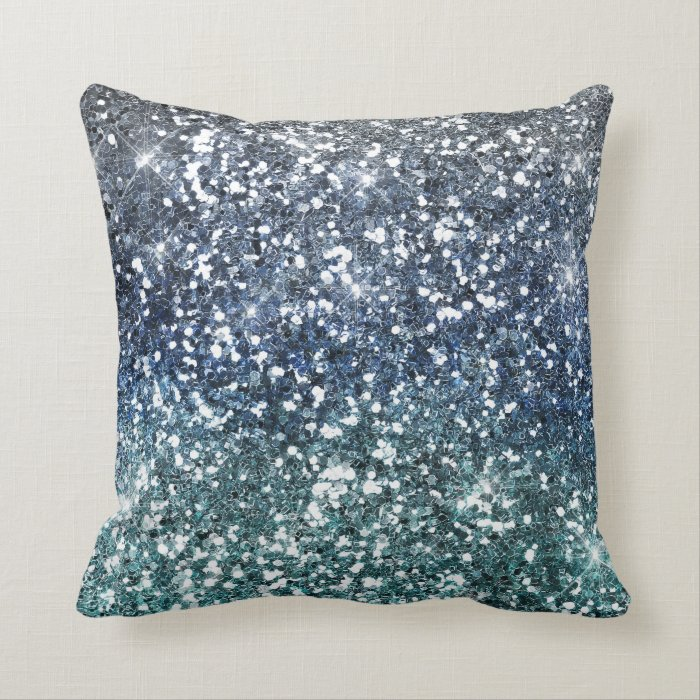 Teal Blue Throw Pillow : Silver Teal Blue Glitter Look Throw Pillow Zazzle