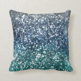 Silver Teal Blue Glitter Look Throw Pillow