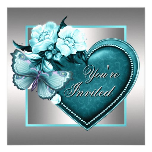 Silver Teal Blue Heart Butterfly Teal Blue Party Announcements