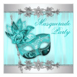 Silver Teal Blue Masquerade Party Invitations