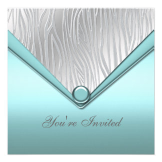 Silver Teal Blue Party Custom Invitations