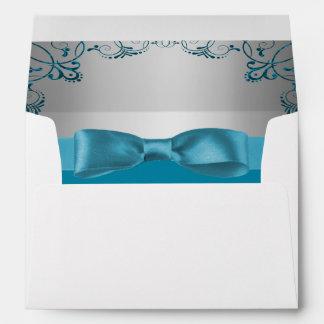 Silver & Teal Blue Scrollwork Wedding Envelope