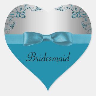 Silver & Teal Blue Scrollwork Wedding Heart Sticker